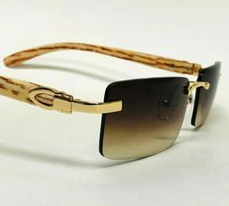 Men's Sunglasses Small Rectangular Sophisticated Gold Brown